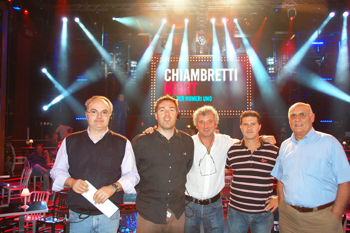 The LD Franco Buso (at the centre) with his lighting team and Clay Paky's sales manager Renato Ferrari (on the right)