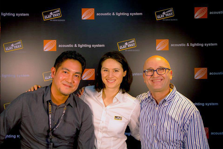 From L to R: Alfonso Zarate Takano (Clay Paky Sales Manager - APAC Area), Giulia Sabeva (Clay Paky Sales Support Engineer), Alberico D'Amato (Clay Paky Head of Sales)