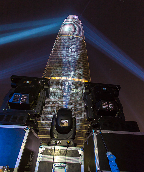 Clay Paky illuminates 300 metre Chilean skyscraper with festive light show