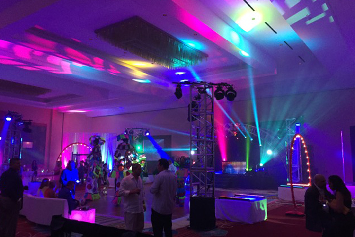 Clay Paky Lighting Fixtures Shine at Gala Party and Theme Park Projects from DeWilde Design Group LLC