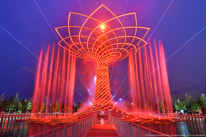 Clay Paky Mythos dazzles on Tree of Life at Milan Expo 2015