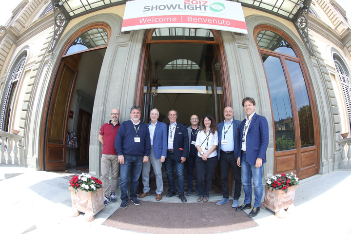 The Claypaky team pictured with Showlight chairman John Allen at the Palazzo dei Congressi
