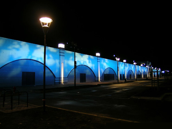 "Rain Spot 575 Clay Paky lights ""Les Grands Prés"" in Mons (Belgium)"