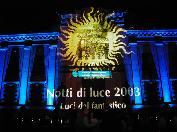 "A solo performance by Clay Paky lighting in "" Notti di Luce 2003"" (Night Lights 2003)"